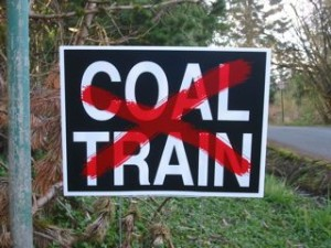 No Coal Train yard sign
