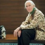 Dr. Jane Goodall with stuffed chimp