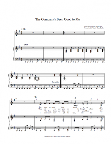 Sheet Music - The Company's Been Good to Me by Dana Lyons