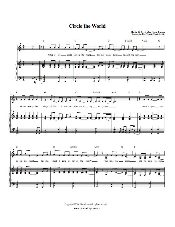 Song song sheet music : Circle the World (sheet music) - Cows With GunsCowsWithGuns.com