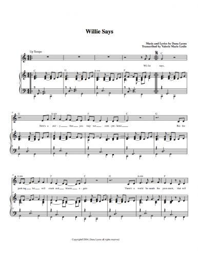 Sheet Music - Willie Says by Dana Lyons
